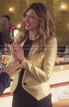Josslyn's gold blazer on Mistresses