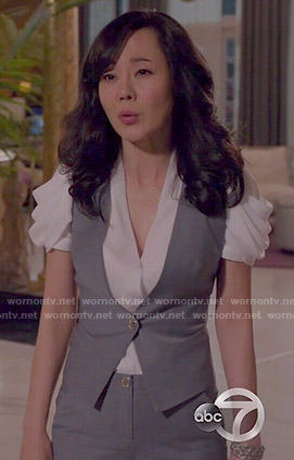 Karen's grey waistcoat with floral back on Mistresses