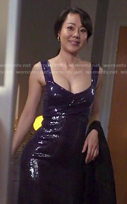Karen's dark purple sequin gown on Mistresses