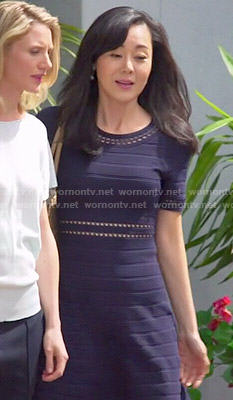 Karen's navy ribbed dress on Mistresses