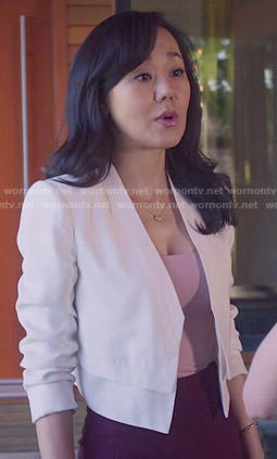 Karen's white cropped jacket on Mistresses