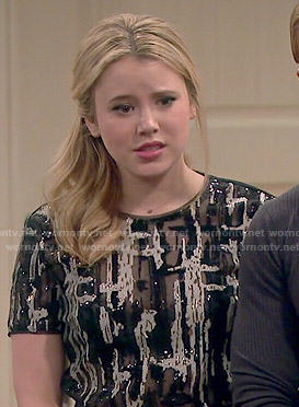 Lennox's black and white sequin top on Melissa and Joey