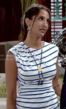 Lily's striped ruched dress on The Young and the Restless
