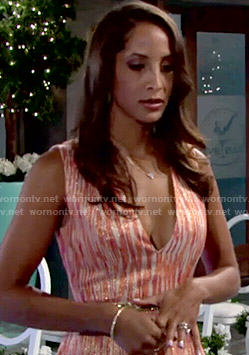Lily's coral v-neck dress on The Young and the Restless