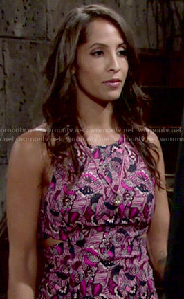 Lily's pink printed dress with side cutouts on The Young and the Restless