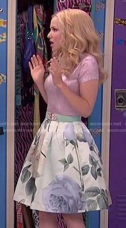 Liv's metallic pink top and rose print skirt on Liv and Maddie