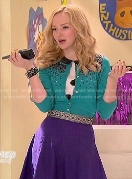 Liv's green sequinned cardigan and black and white printed top on Liv and Maddie