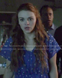 Lydia's blue polka dot dress on Teen Wolf