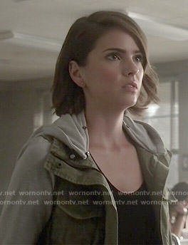 Malia's army jacket with grey sleeves on Teen Wolf