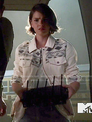 Malia's white patterned jacket on Teen Wolf