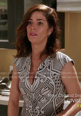 Marisol's black and white floral dress on Devious Maids