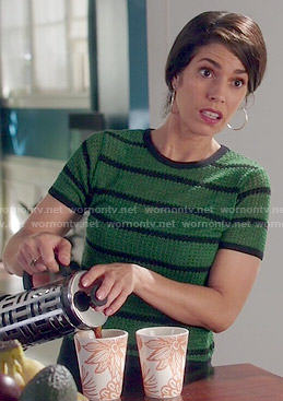 Marisol's green striped top on Devious Maids