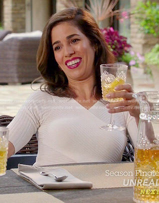 Marisol's white ribbed cross front dress on Devious Maids
