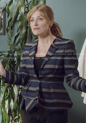 Maura's blue striped peplum jacket on Rizzoli and Isles