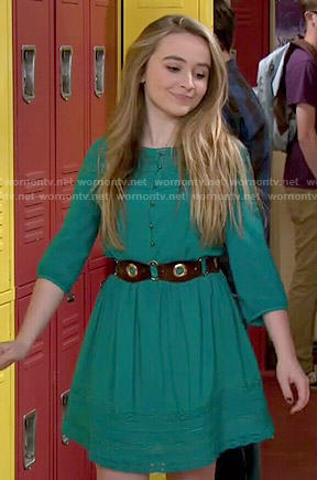 Maya's green lace panel dress on Girl Meets World