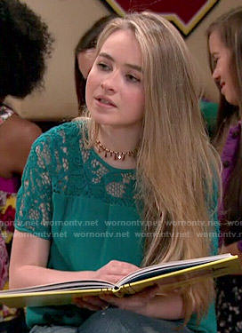 Maya's green lace sleeve top on Girl Meets World