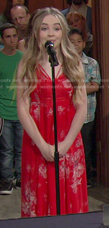 Maya's red floral maxi dress on Girl Meets World