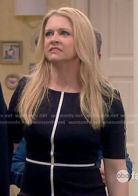 Mel's black dress with white trim on Melissa and Joey