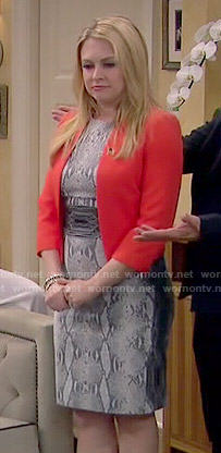 Mel's grey snake print dress on Melissa and Joey