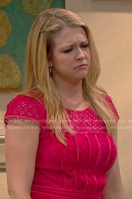 Mel's red lace peplum top on Melissa and Joey