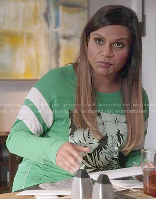 Mindy's green tropical graphic tee on The Mindy Project
