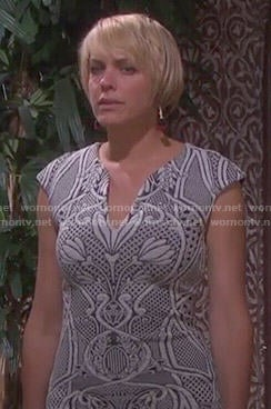 Nicole's black and white floral dress on Days of our Lives