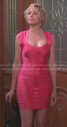 Nicole's coral bandage dress on Days of our Lives