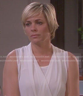 Nicole's white draped top on Days of our Lives