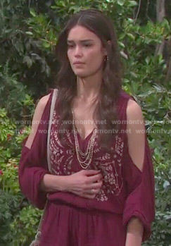 Paige's red embroidered romper on Days of our Lives