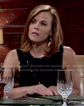 Phyllis's black to with printed trim and cutouts on The Young and the Restless