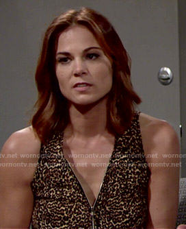 Phyllis's leopard print zip front top on The Young and the Restless