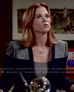 Phyllis's navy colorblock blazer on The Young and the Restless