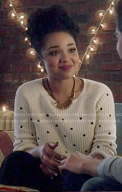 Beth's polka dot sweater on Chasing Life