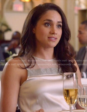 Rachel's white top with silver strip on Suits