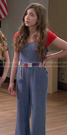 Riley's chambray wide-leg jumpsuit on Girl Meets World