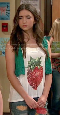 Riley's strawberry top and patchwork jeans on Girl Meets World