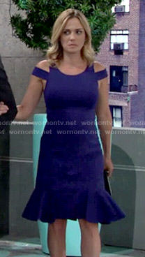 Sage's blue cold-shoulder dress on The Young and the Restless