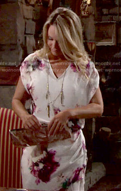 Sharon's floral print draped dress on The Young and the Restless