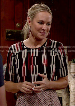 Sharon's layered mixed print top on The Young and the Restless