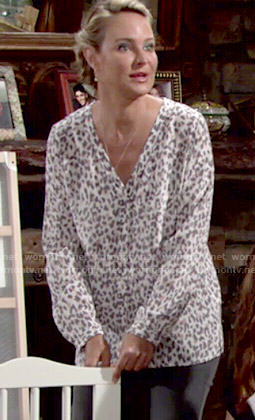 Sharon's leopard print v-neck blouse on The Young and the Restless