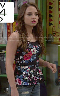Sofia's floral peplum top on Young and Hungry