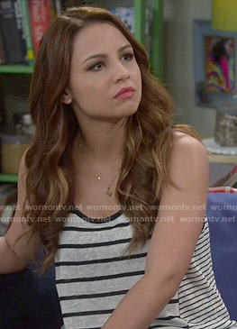 Sofia's mixed stripe tank top on Young and Hungry