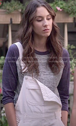 Spencer's white short overalls and baseball tee on Pretty Little Liars