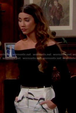 Steffy's black off-shoulder top and white skirt on The Bold and the Beautiful