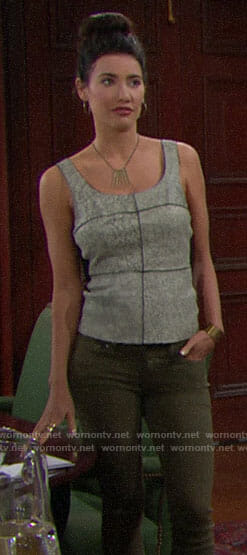 Steffy's grey leather top on The Bold and the Beautiful