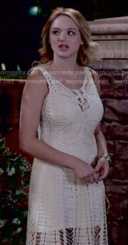Summer's cream crochet dress on The Young and the Restless