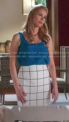 Taylor's white checked skirt and blue top on Devious Maids