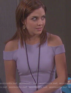 Theresa's purple cold shoulder dress on Days of our Lives