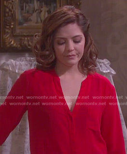 Theresa's red v-neck blouse on Days of our Lives