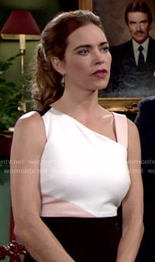 Victoria's asymmetric colorblock dress on The Young and the Restless